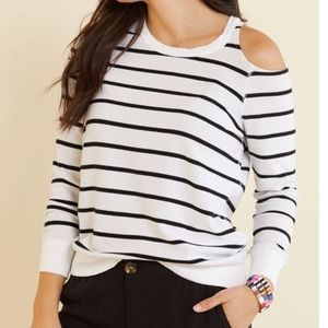 Chaser Stripe Cutout Pullover Sweater White Black